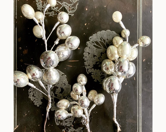 3 Bunches of Silver Glass Egg-Shaped Ornaments