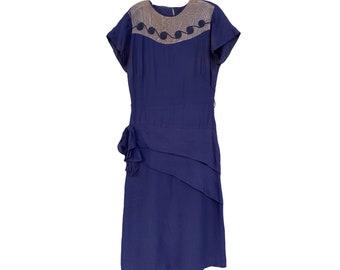 Vintage 1940s Navy Blue Rayon Dress