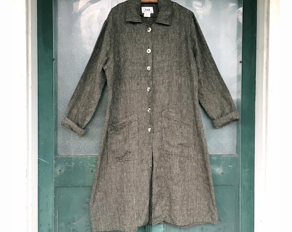 FLAX Engelheart Long Jacket -M/L- Yarn-Dyed Green Heavy Weight Linen