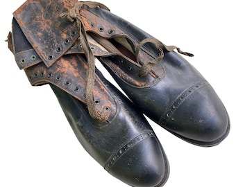 Edwardian Lace Up Boots Leather and Canvas AS IS