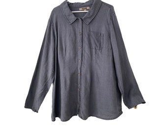 FLAX Long Sleeve Shirt -L- Dark Graphite Gray Linen