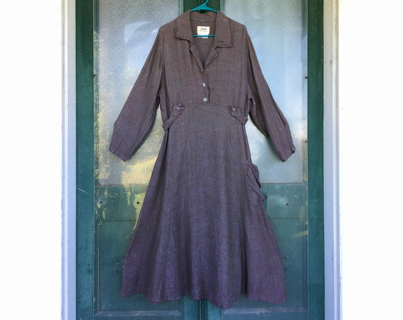 FLAX Engelhart Soleil 1999 Cool Weather Dress -S- Berry Thermal Linen