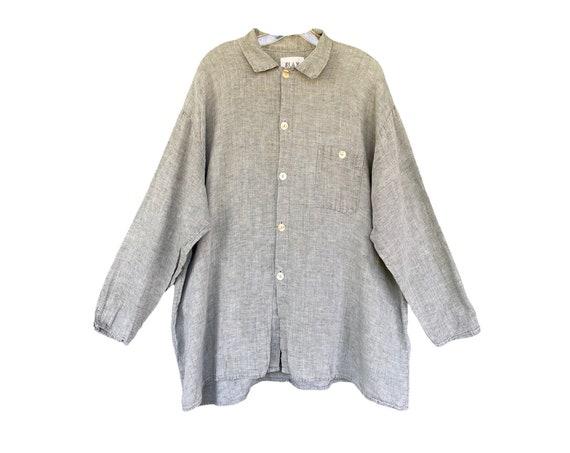 FLAX Engelhart Soleil 1995 Long Sleeve Shirt -L- Moss Linen