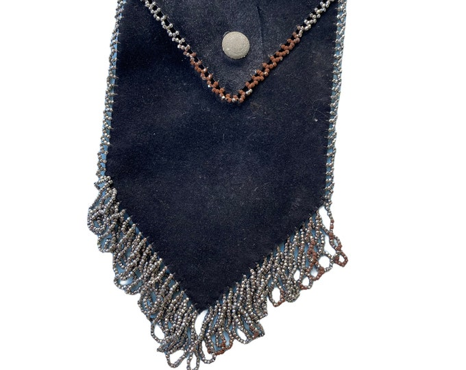 Vintage Black Suede Pouch Bag with Steel Cut Metal Bead Trim