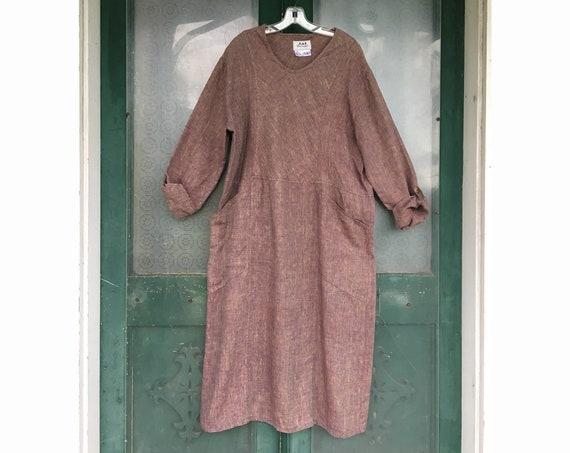 FLAX Engelhart Basic 2001 Right Angle Dress -M- Rubyfruit Linen