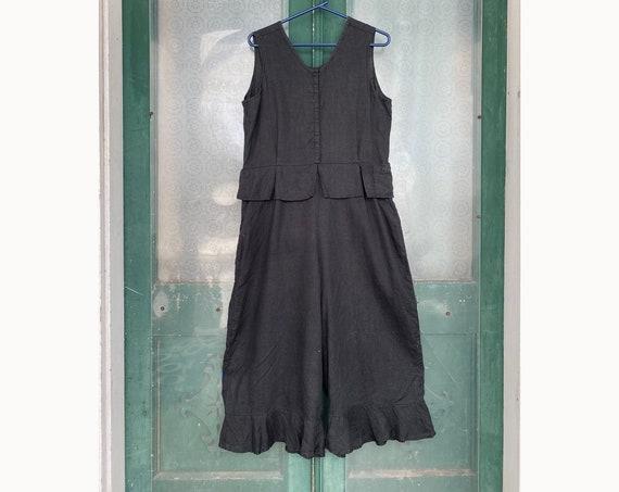 FLAX Engelhart Summer 2000 Retro Bloomer Overalls -M- Black Handkerchief Linen
