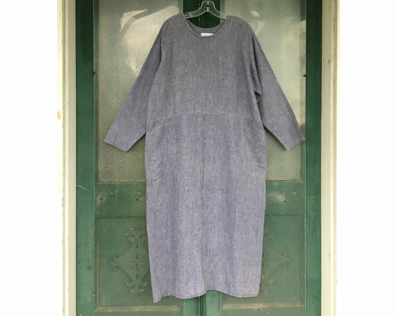 FLAX Engelhart Soleil 1997 Mighty Right Angle Dress -M- Dungaree Blue Linen