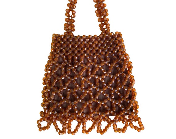 Vintage Amber Beaded Handbag