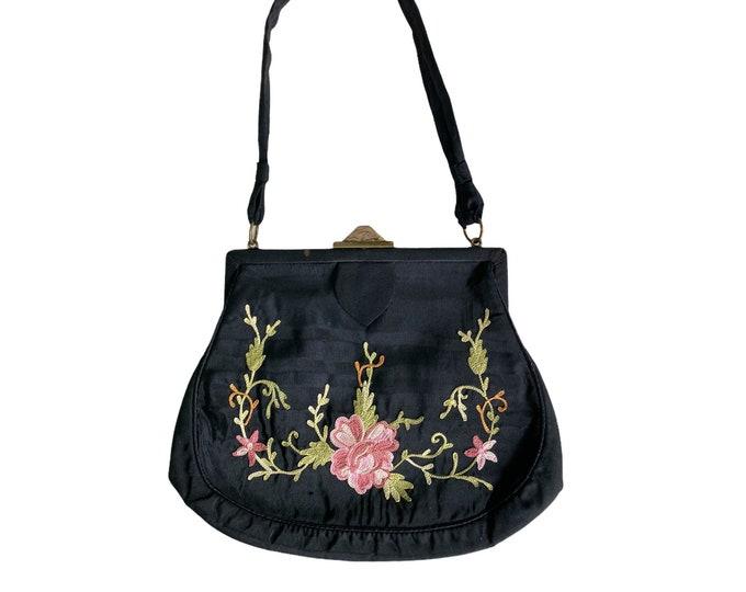 Victorian Floral Chain Stitch on Black Silk Handbag
