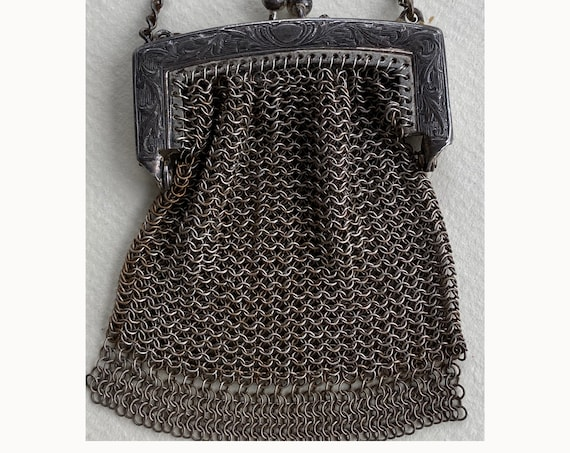 Vintage Whiting & Davis Chain Mesh Chatelaine Bag