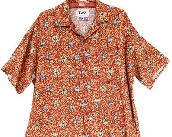 FLAX Engelhart Soleil 2002 Hawaii Shirt -M- Bahama Vine Linen