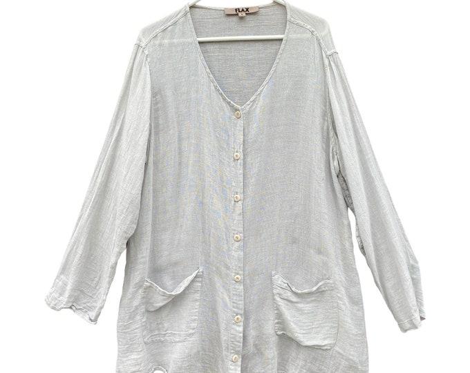 Flax Long Sleeve Linen Gauze Tunic Blouse -L-