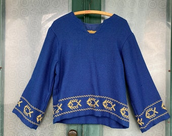 Vintage Homespun Pullover  - Blue with Gold Fish Border
