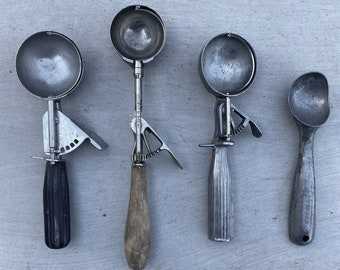 Collection of 4 Vintage Ice Cream Scoops