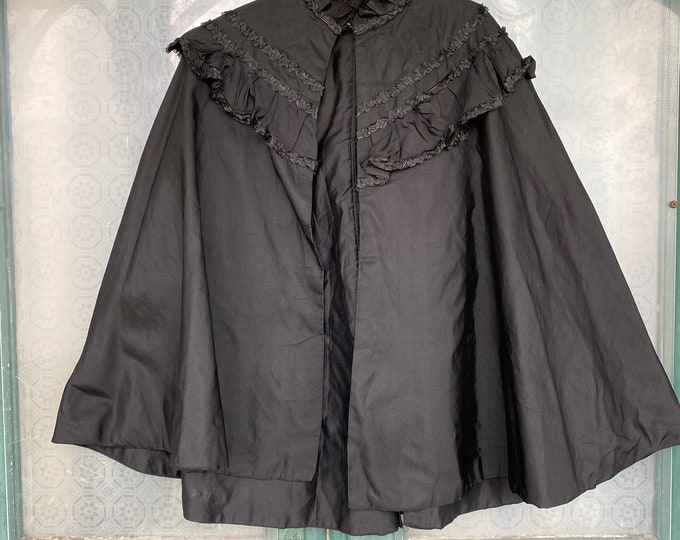 Vintage Black Silk Cape with Ruched Trim and Lace