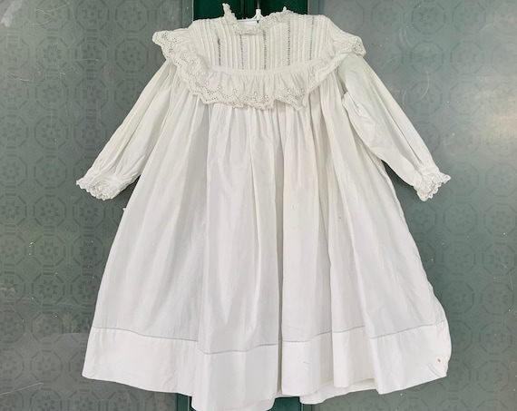 Victorian Edwardian Vintage Childs White Cotton Dress with Eyelet and Lace