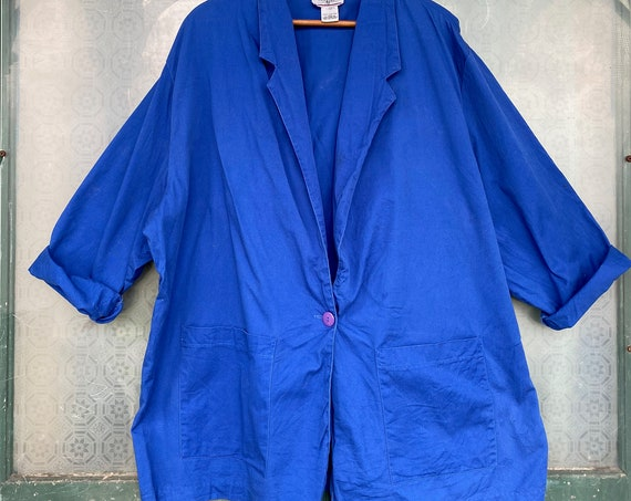 Bridge Gate 1980s Big Blazer Cobalt Blue Cotton -L+