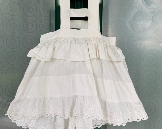 Antique Victorian Edwardian Childs Petticoat Pinafore Slip in White Cotton with Eyelet Trim