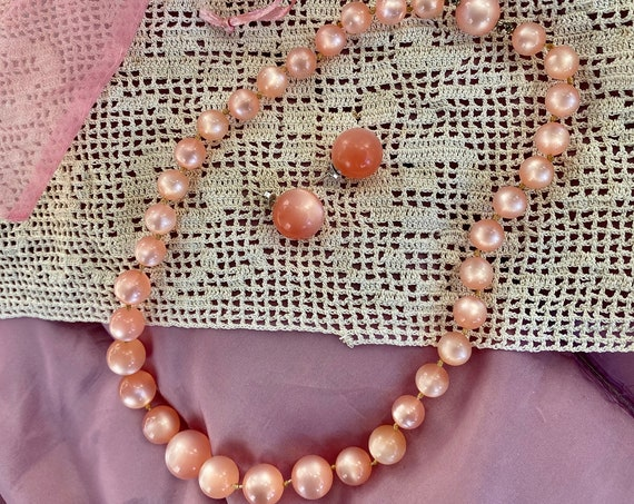 Vintage Pink Moonglow Lucite Necklace and Earring Set