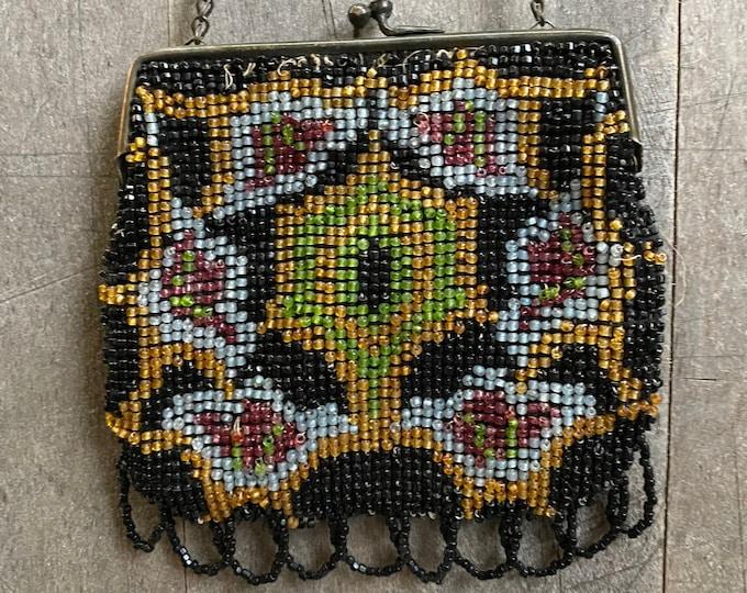 Vintage Colorful Beaded Bag