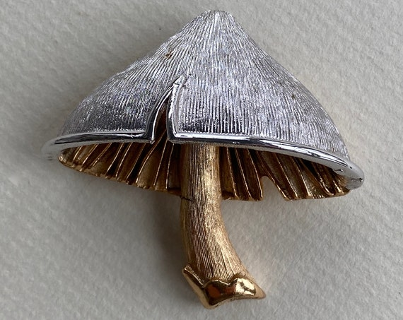 Napier Silver and Gold Tone Mushroom Pin