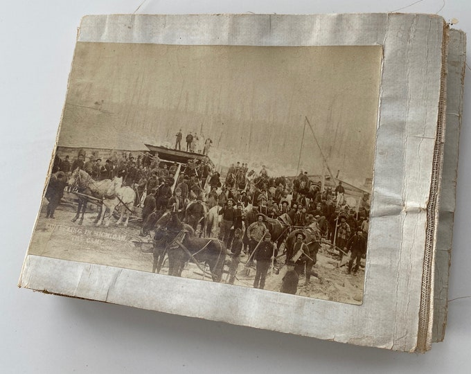 Antique Folio of 9 Michigan Logging Photos Goodridge Brothers African American Photographers 1800s