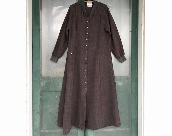 FLAX Engelhart Temperate 1999 All Day Dress -M- Vineyard Blue Linen Bark Cloth