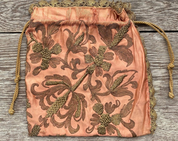 Victorian Silk Drawstring Bag with Gold Bullion Trim and Stitching