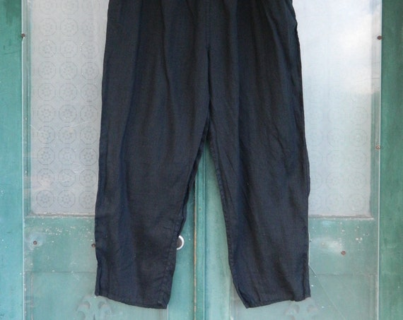 FLAX Engelheart Straight Pants -3G/3X- Black Light Weight Linen