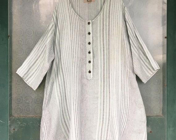 FLAX Designs Summer 2009 Pullover Tunic with Pockets -L- Seafoam Stripe Linen