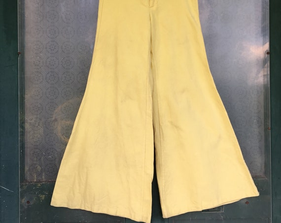 Old Town Bell Bottom Flare Leg Pants -7- Yellow Flannel Denim