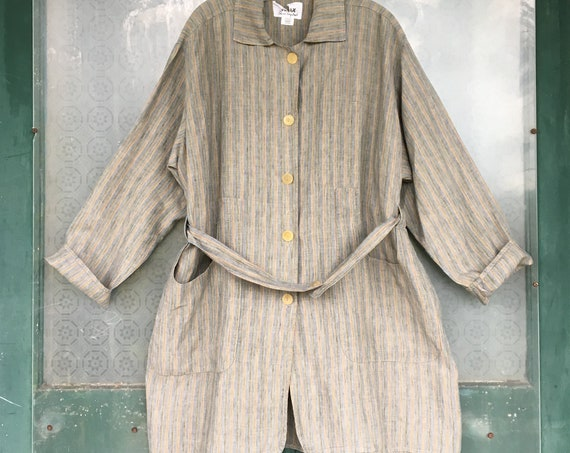 FLAX Engelheart Soleil 1997 Overcoat -M- Water Stripe Gray Green Blue Linen