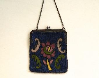 Vintage Floral Blue Beaded Bag Belgium