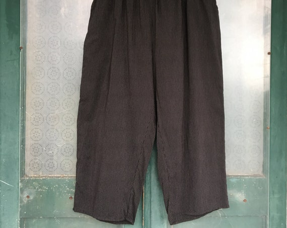 FLAX Engelhart 2003 Linen Floods Pants -2G/2X- Black Pinstripe  Cotton/Rayon