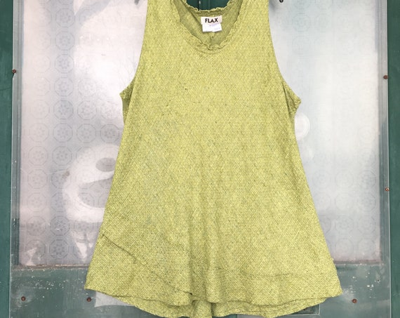 FLAX Designs Sleeveless Bias Tank -3G/3X- Yarn-Dyed Green Linen