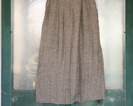 FLAX Designs Skirt -L- Black/Natural Herringbone Linen