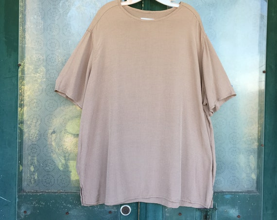 FLAX Engelhart Flax to Business 2001 Short-Sleeve Tall Tee -L- Taupe Rayon