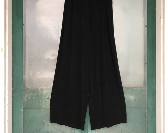 FLAX Engelhart Foundations Wide Leg Pants -L- Black Acetate/Rayon
