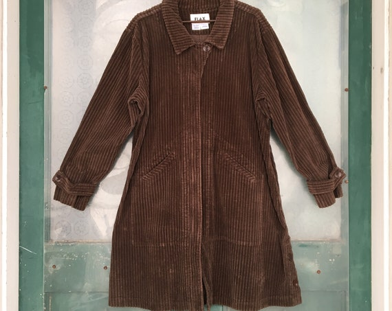 FLAX Engelhart Autumn 2004 Wide Wale Corduroy Zip Jacket -L- Pine Cone Brown