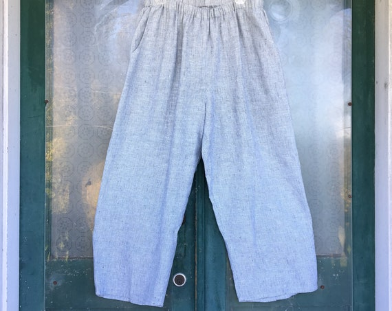 FLAX Designs Floods Pants -L- Gray Stripe Linen