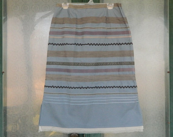 Neesh by DAR A-Line Ribbon Skirt -L- Blue Twill with Gray, Blue and Lavender Ribbons