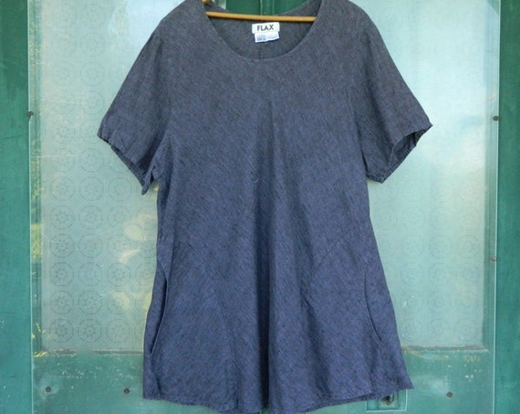 FLAX Engelhart Bias Tee -2G/2X- Dark Purple/Gray Linen