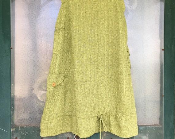 FLAX Engelhart Spring 2006 Cargo Skirt -L- Green Weave Linen