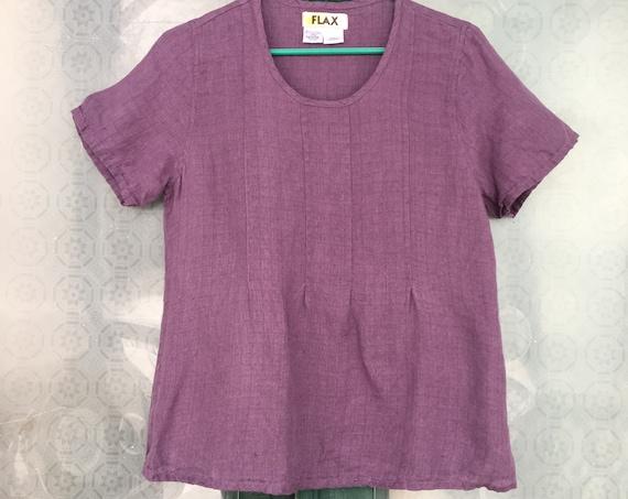 FLAX Short Sleeve Pintuck Tee -P/XS- Purple Linen