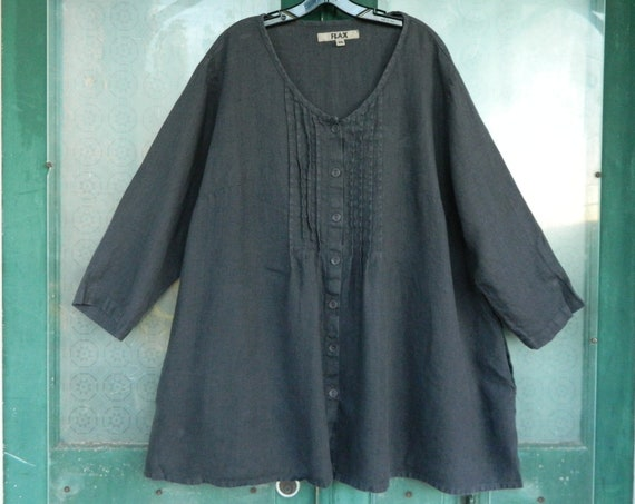 FLAX Designs Pintuck Blouse -2G/2X- Dark Gray Linen