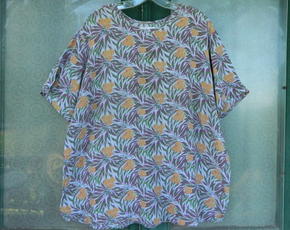 FLAX Engelhart Thinking Tropics 2001 Short-Sleeve Tee -1G/1X- Lavender Fern Rayon AS IS