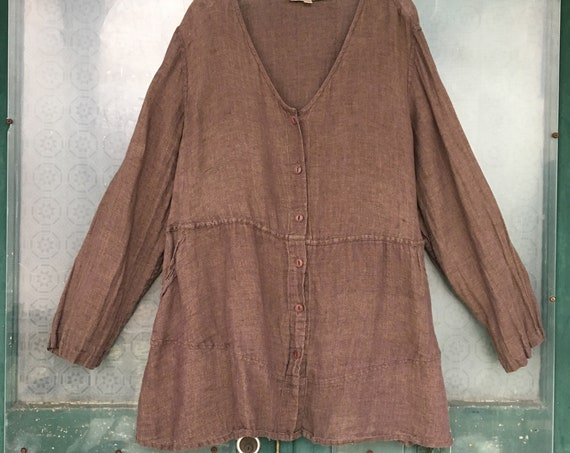 FLAX Engelhart V-Neck Button-Front Tunic Jacket -2G/2X- Brown Linen Gauze
