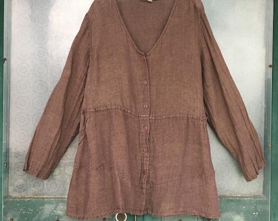 FLAX Engelhart V-Neck Button-Front Tunic Jacket -2G/2X- Brown Linen Gauze