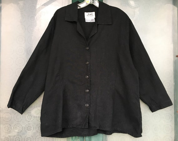 FLAX Basic 2001 Long-Sleeve Shapely Blouse -L- Black Linen