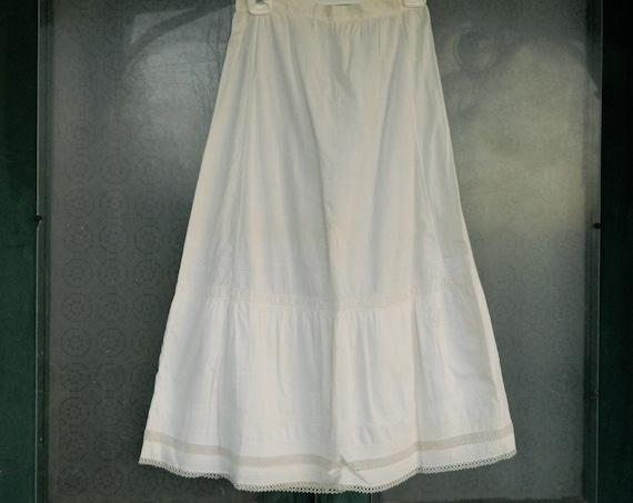 Vintage White Cotton Petticoat Slip with Crochet Hem and Monogram